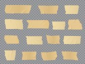 Duct tape pieces, vector adhesive wrinkled stripes