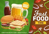 Fast food vector poster, combo meals and drinks