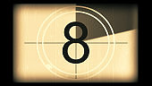 3D rendering of a monochrome old and grained universal countdown leader from 10 to 0
