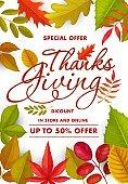 Thanksgiving sale vector poster with autumn leaves