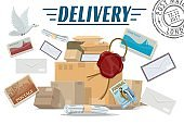 Parcels, letters and post packages. Mail delivery