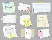 Paper sticky notes, banners, to do list or memo