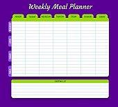 Weekly meal planner, vector food plan for week
