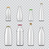 Bottle and jar realistic mockups, glass containers