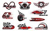 Car racing, motorsport vector icons