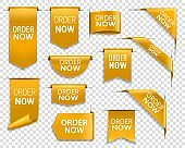 Order now gold banners, bookmarks, web elements