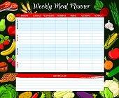 Weekly meal planner, vector food week plan diary