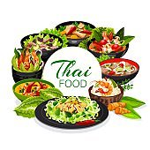 Thai cuisine, vector dishes round frame, poster
