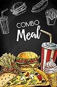 Fast food takeaways menu vector cover template