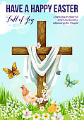 Easter cross with spring flower greeting card