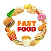Fast food banner frame, burger and pizza menu