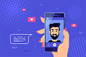Smartphone Video Call Concept Banner, Flat style vector