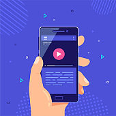Mobile video application banner, flat style vector design.