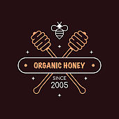 Honey production company outline badge or logo design