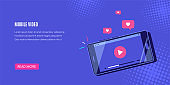 Mobile video banner design, flat style vector illustration