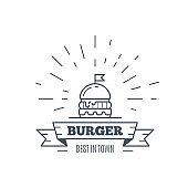 Burgers badge design, vector line art illustration