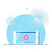 Live podcast banner design, flat style vector illustration