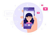 Video call using smartphone, internet technologies concept