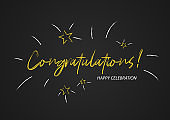 Congrats, Congratulations card with gold text