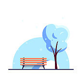 Bench in winter city park, flat style vector