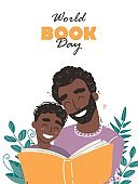 Father reading a book to his son. Happy loving family and Fathers Day. World book day