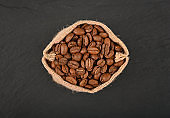 Bag of roasted coffee beans over black