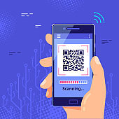 QR code scanning concept banner. Flat style vector
