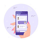 Online chatting using smartphone, flat style vector