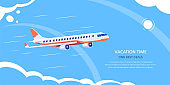Online flight booking banner design, flat style illustration