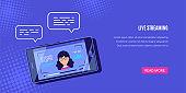 Live mobile streaming banner design, flat style vector illustration