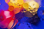 Close up iew of red, blue, orange, yellow colorful abstract design, texture. Beautiful backgrounds.