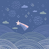 magic tale card banner design abstract scales comet, night sky, clouds and stars, simple Nature doodle lines scandinavian style background trend of the season, circle pattern Blue pink white. Vector