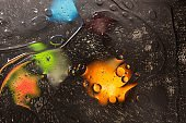 Red, black, orange, blue, yellow colorful abstract design, texture. Beautiful backgrounds.