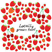 Locally grown food, Farmers market. Card banner template ripe red cherry and strawberry. Black text, calligraphy, lettering, doodle by hand isolated on white background. Vector