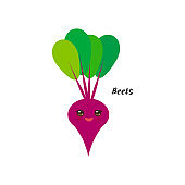 cute Kawaii red beets with tops with eyes and pink cheeks, isolated on white background trend of the season. Can be used for cards for children learning words, food packaging. Vector