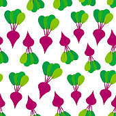 Seamless pattern with red beets with green leaves, isolated on white background trend of the season. Can be used for Gift wrap fabrics, wallpapers, food packaging. Vector