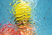 Close up view of red, black, orange, blue, yellow colorful abstract design, texture. Beautiful abstract backgrounds.