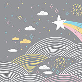 magic tale card banner design abstract scales comet, night sky, clouds stars, simple Nature doodle lines scandinavian style background trend of the season, circle pattern Blue pink white gray. Vector