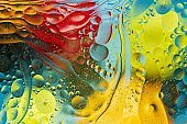 View of red, orange, green, yellow colorful abstract design, texture. Beautiful backgrounds.