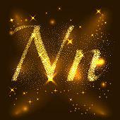 Alphabets N of gold glittering stars. Illustration vector