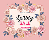 Big Spring sale banner with beautiful flower roses women style,template with  background and gold frame. Spring offer ads for e-commerce, on-line cosmetics shop, fashion & beauty shop, store. Vector