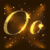 Alphabets O of gold glittering stars. Illustration vector