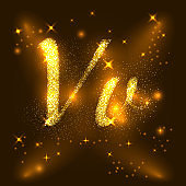 Alphabets V and v of gold glittering stars. Illustration vector
