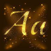 Alphabets A of gold glittering stars. Illustration vector