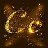 Alphabets C of gold glittering stars. Illustration vector