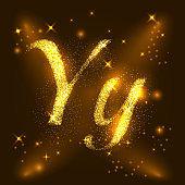 Alphabets Y of gold glittering stars. Illustration vector