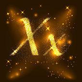 lphabets X of gold glittering stars. Illustration vector