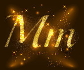 Alphabets M and m of gold glittering stars. Illustration vector