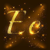 Alphabets E of gold glittering stars. Illustration vector