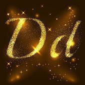 Alphabets D of gold glittering stars. Illustration vector